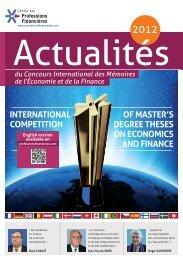la plaquette « Actualité 2012 - Centre des Professions Financières