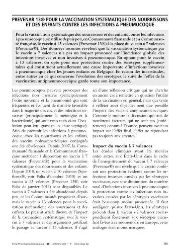 prevenar 13® pour la vaccination systematique des ... - CBIP