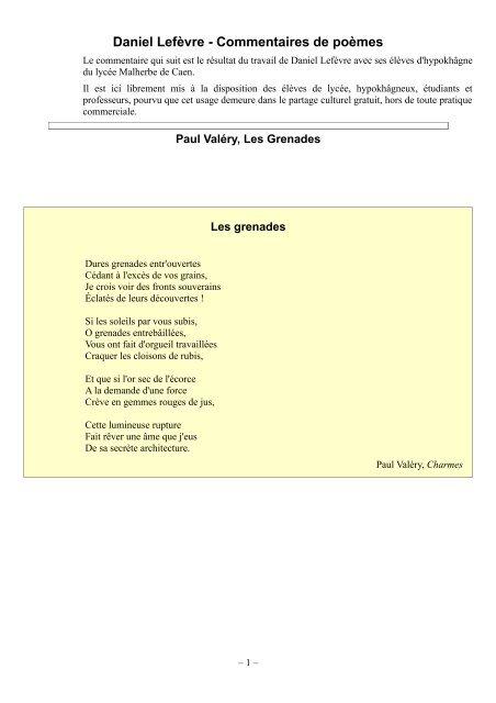 Les Grenades Des Poèmes De Daniel Lefèvre