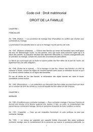 Code civil : Droit matrimonial DROIT DE LA FAMILLE