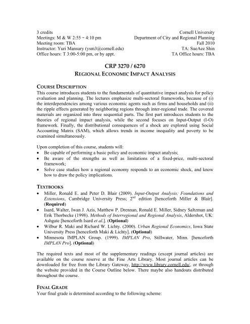 CRP 3270 / 6270 - AAP - Cornell University