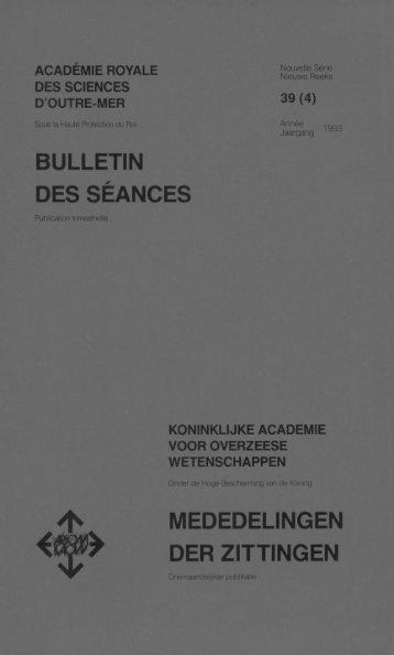 bulletin des séances ^ mededelingen der zittingen - Royal Academy ...