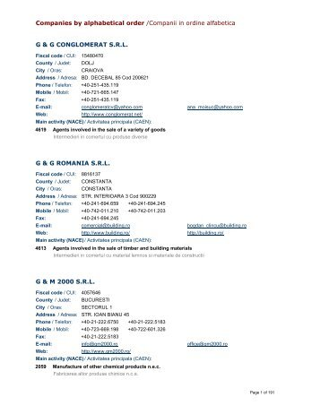 Companies by alphabetical order /Companii in ordine alfabetica G ...