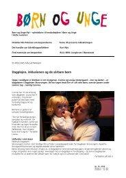 Dagplejen, inklusionen og de sårbare børn - Dagtilbud-Aarhus