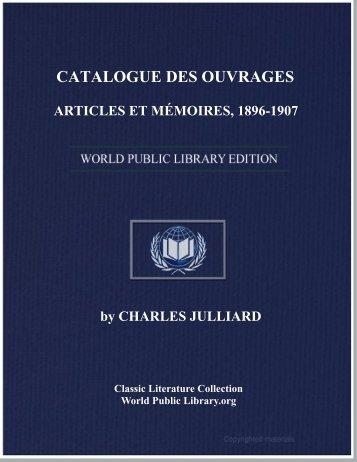 catalogue des ouvrages, articles et mémoires, 1896-1907