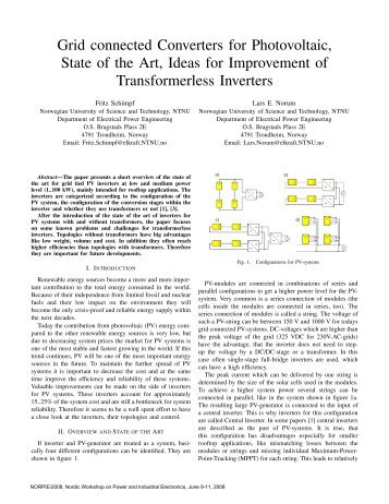 Grid connected Converters for Photovoltaic, State of the ... - Aaltodoc