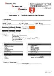 Formblatt 3.1 Datenaufnahme Stoffdaten Stoffname ... - ABC-Gefahren