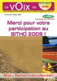 Merci pour votre participation au SITHO 2009