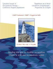 Leading the way to healthy occupation Ouvrir la voie aux ...