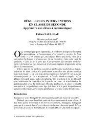Réguler les interventions en classe de seconde - IUFM de l ...