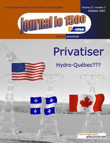 Octobre 2007 - Syndicat des employé-es de métiers d'Hydro-Québec