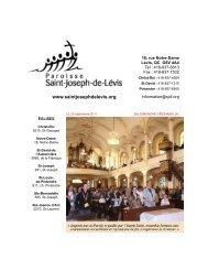 horaire des messes - Paroisse Saint-Joseph-de-Lévis