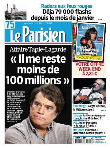 Parisien + cahier Paris du vendredi 24 mai 2013 - Les Parasites