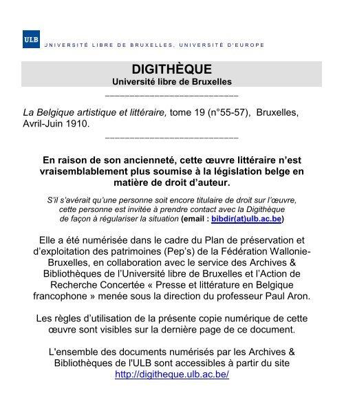 Tome 19 N55 57 De Luniversité Libre De Bruxelles