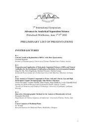 PRELIMINARY LIST OF PRESENTATIONS