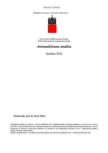 Avtomatizirana analiza - Univerza v Ljubljani
