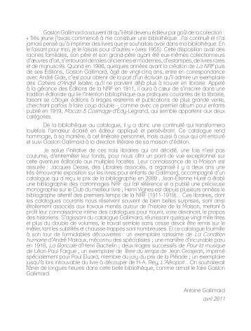 Catalogue 71 - Gallimard Cent ans d'édition - Librairie Henri Vignes