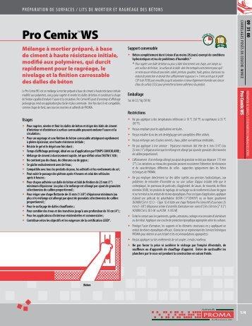Pro Cemix™WS - Adhésifs Proma inc.