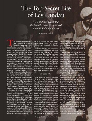 The Top-Secret Life of Lev Landau - Scientific American Digital
