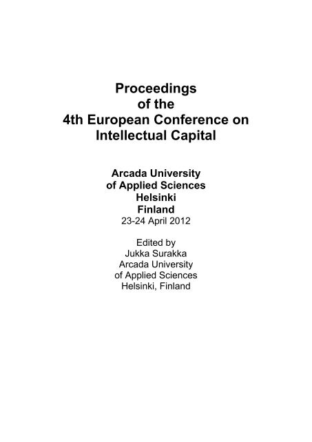 Proceedings of the 4th European Conference on Intellectual Capital