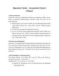 Allgemeine Chemie – Anorganische Chemie 1 Übung 8