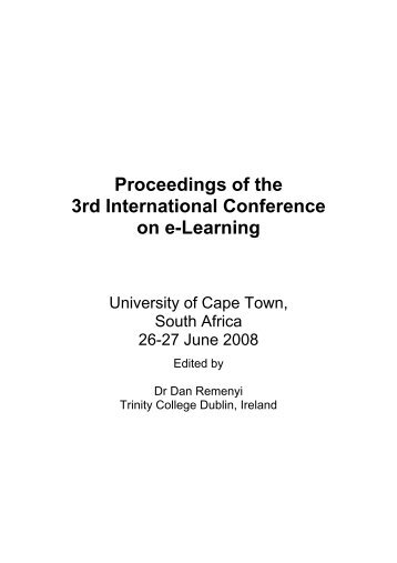 Proceedings of the 3rd International Conference on e-Learning