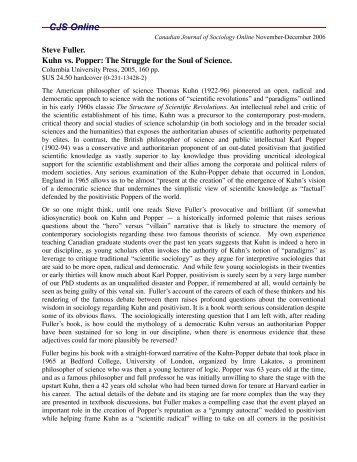 Steve Fuller. Kuhn vs. Popper - The Canadian Journal of Sociology ...