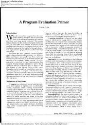 A program evaluation primer - Academic Program Pages at Evergreen