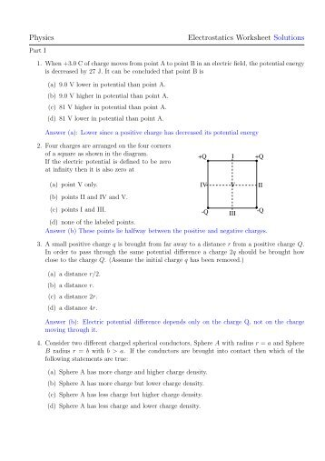 Physics Worksheet Electrostatics Electric Fields and Potential