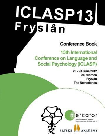 Conference Book - Fryske Akademy