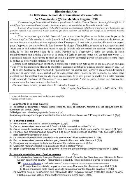 La Chambre Des Officiers De Marc Dugain   WebLettres