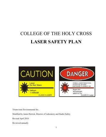 Laser Safety Plan - Academics - College of the Holy Cross