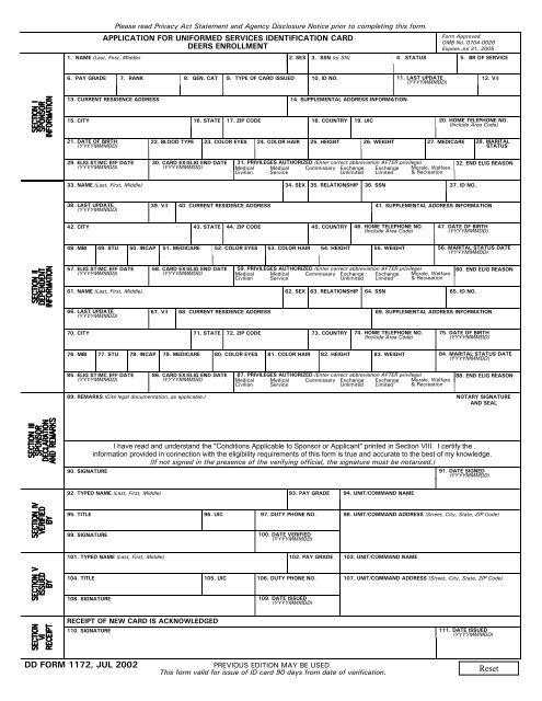 Deers Id Card Form - Newletterjdi co