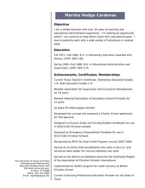 Curriculum Vitae Academics Portal Index Home