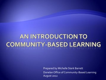 An Introduction to Community-based learning - Academics