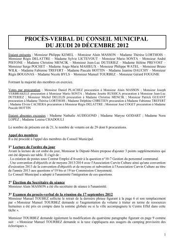 Conseil municipal du 20/12/2012 - Ville de Carvin