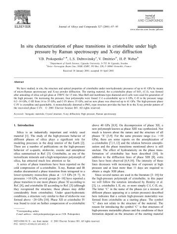 In situ characterization of phase transitions in cristobalite under high ...