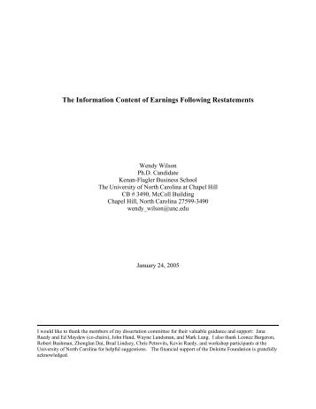 The Information Content of Earnings Following Restatements - SMU ...