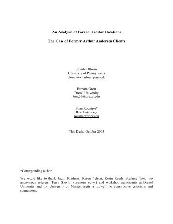 An Analysis of Forced Auditor Rotation - ResearchGate