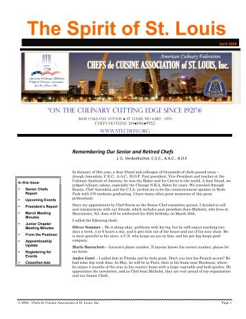 2008-04 Apr Newsletter - Chefs de Cuisine Association of St Louis