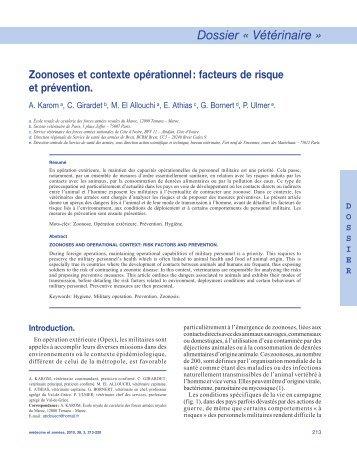 Karom A. Zoonose et contexte opérationnel. Facteurs de risques et ...