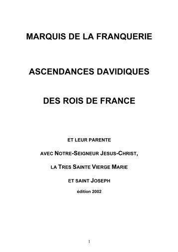 marquis de la franquerie ascendances davidiques des rois de france