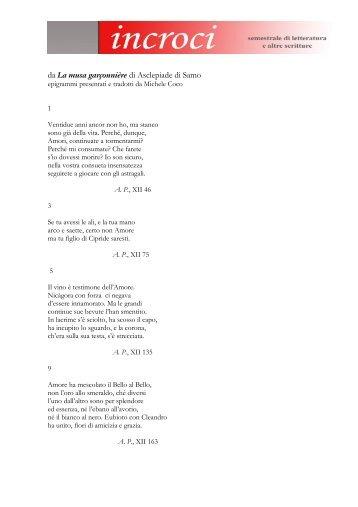 da La musa garçonnière di Asclepiade di Samo - Adda Editore