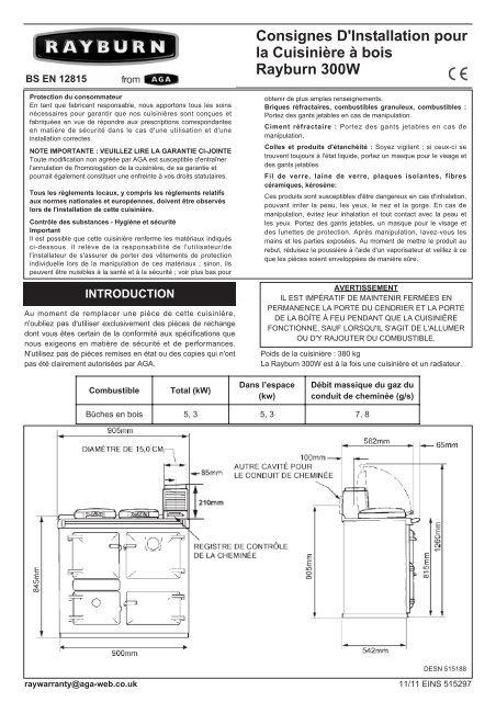 regard détaillé 5c8e6 73fcb Consignes D'Installation pour la Cuisinière à bois Rayburn 300W