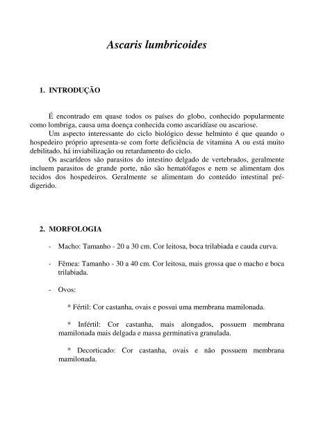 lumbricoides morfologia