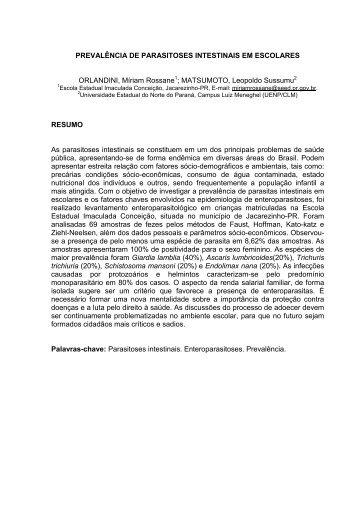 PREVALÊNCIA DE PARASITOSES INTESTINAIS EM ESCOLARES ...