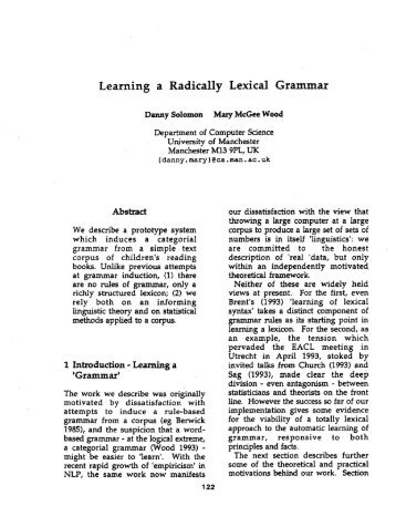 Learning a Radically Lexical Grammar - the Association for ...