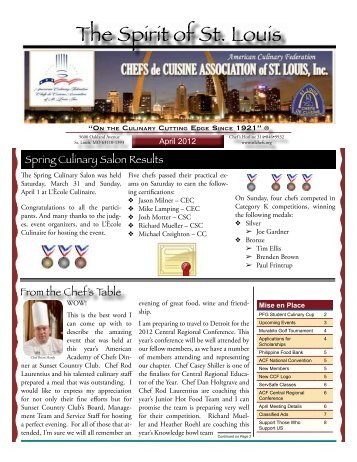 2012-04 Apr Newsletter - Chefs de Cuisine Association of St Louis
