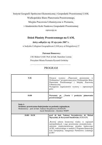 Dzień Planisty Przestrzennego na UAM, PROGRAM