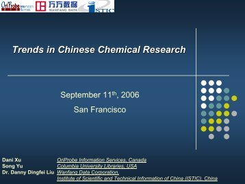 Trends in Chinese Chemical Research - CINF
